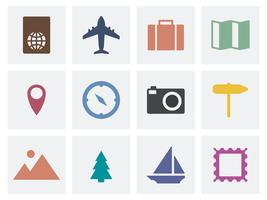 Collection of travel icons illustration