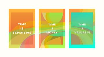 Set of colorful time quote graphic designs