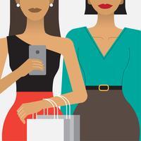 Mulheres, compras, shopping, ilustração