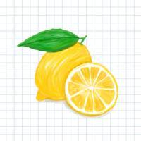 Style d'aquarelle citron dessiné à la main
