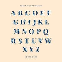 Botaniska alfabetet stora bokstäver vektor uppsättning