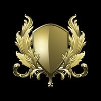 Golden Baroque shield elements vector