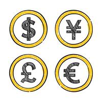 World leading global currencies illustration