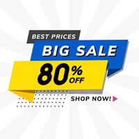 Big sale 80% off promotion advertisement vector