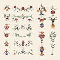 Vintage flourish ornament illustration set