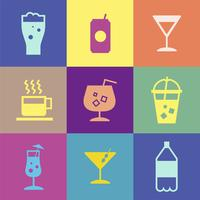 Refreshing drinks icons collection illustration
