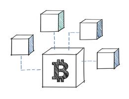 Bitcoin block kopplat till blockchain illustration
