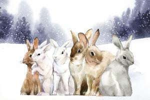 Wilde Kaninchen im Winterschnee gemalt durch Aquarellvektor
