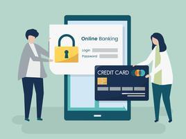 Leutecharaktere und Onlinebankingsicherheitskonzeptillustration
