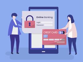 Människor karaktärer och online banking säkerhet koncept illustration