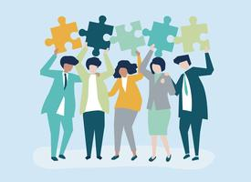 Karaktär av affärsmän som håller pusselbitar illustration