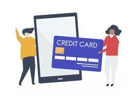 Persone che fanno un'illustrazione di transazione di carta di credito online