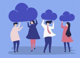 Karakters van bedrijfsmensen die de illustratie van wolkenpictogrammen houden