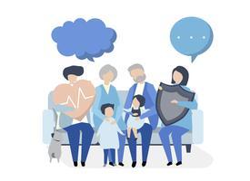 Tekens van een uitgebreide familie met gezondheidszorgillustratie