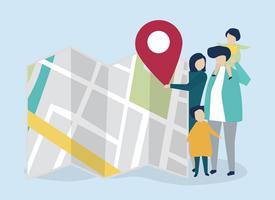 Charaktere der Familie mit einer Karten- und GPS-Markierungsillustration