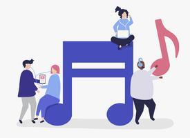 Personaggi di persone che ascoltano musica illustrazione