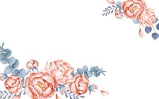 Um cartão branco com decoração floral