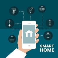 Smart home controlled by phone infographic vector