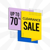 Clearance sale up to 70% promotion advertisement vector