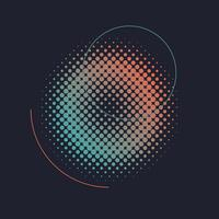 Green and orange halftone badge vector
