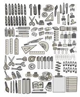 Conjunto de vectores de estilo doodle de papelería