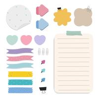 Colorful reminder paper notes vector set