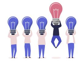 Person with a light bulb head standing out illustration
