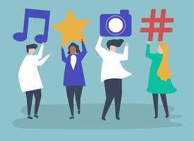 Caractères des personnes détenant des icônes d'icônes de médias sociaux