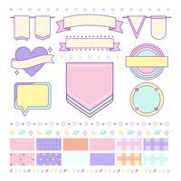 Olika söta och girly designelement vektorer
