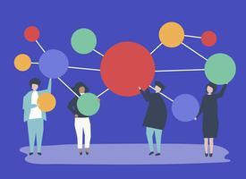 Personnes détenant connecté illustration d'icônes cercle espace copie