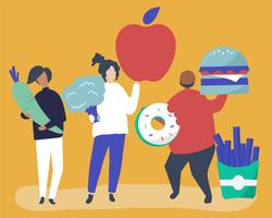 Karakters van mensen die de illustratie van voedselpictogrammen houden