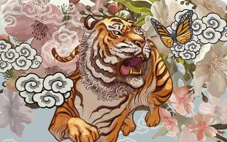 Tiger and butterfly