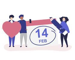 La gente che tiene l'illustrazione delle icone di concetto di San Valentino