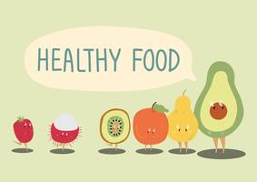 Healthy fruits cartoon character vector