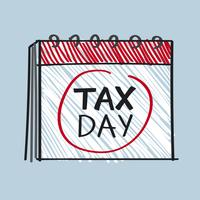 Calendar with the word tax day illustration