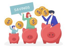 Familj med besparingar och spargris ikoner illustration