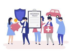 Caractères des personnes détenant des icônes d'assurance illustration