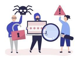 Ilustração de personagens de pessoas com ícones do crime cibernético