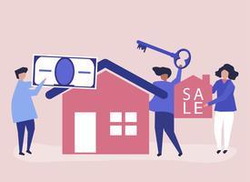 Ilustração de personagem de pessoas vendendo casa