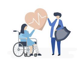 Illustration de caractère de personnes détenant des icônes d'assurance maladie