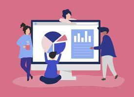 Personajes de personas analizando gráficos y diagramas de ilustración.