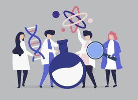 Characters of scientists holding chemistry icons illustration