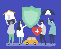 Le persone che trasportano icone legate all'assicurazione