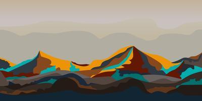 Projeto gráfico pintado da paisagem da montanha