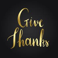 Give thanks typography style vector