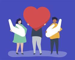 Pessoas, segurando, coração, e, mão, ícones