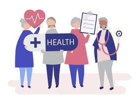 Ilustração de personagens de idosos segurando ícones de saúde