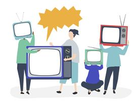 Character illustration of people with analog TV icons vector