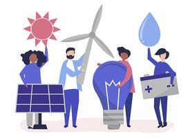 Tekens van mensen die groene energiepictogrammen houden