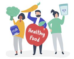 People holding healthy food icons